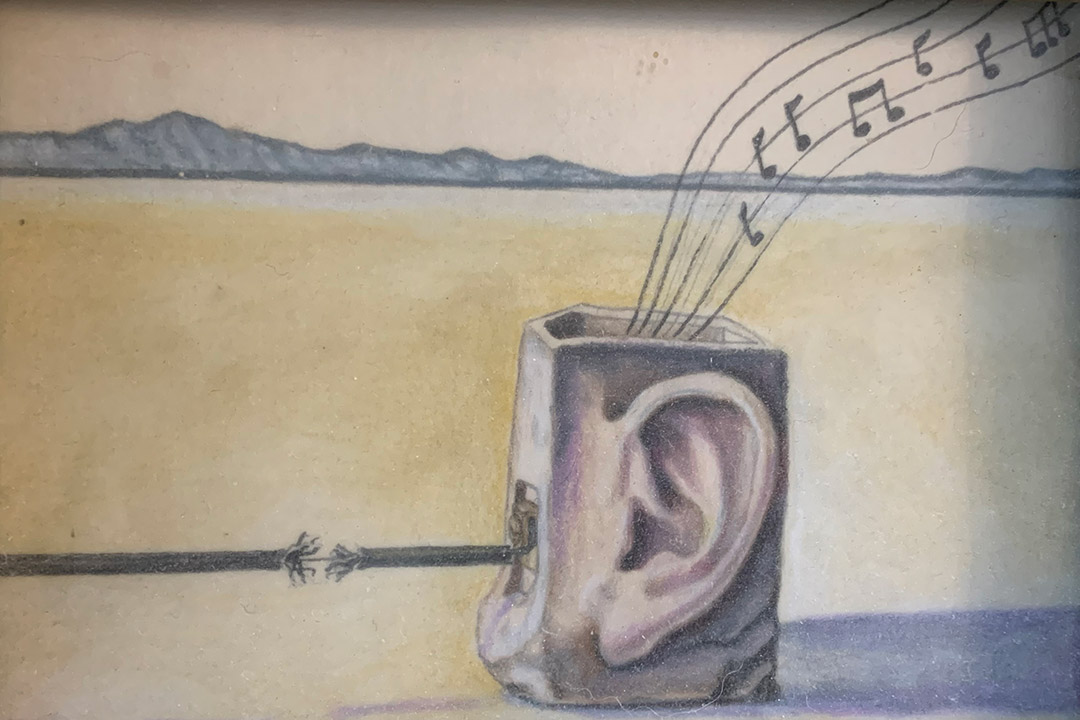 artwork featuring a box with an ear drawn on it. There is a frayed power cord and music notes coming from the box.