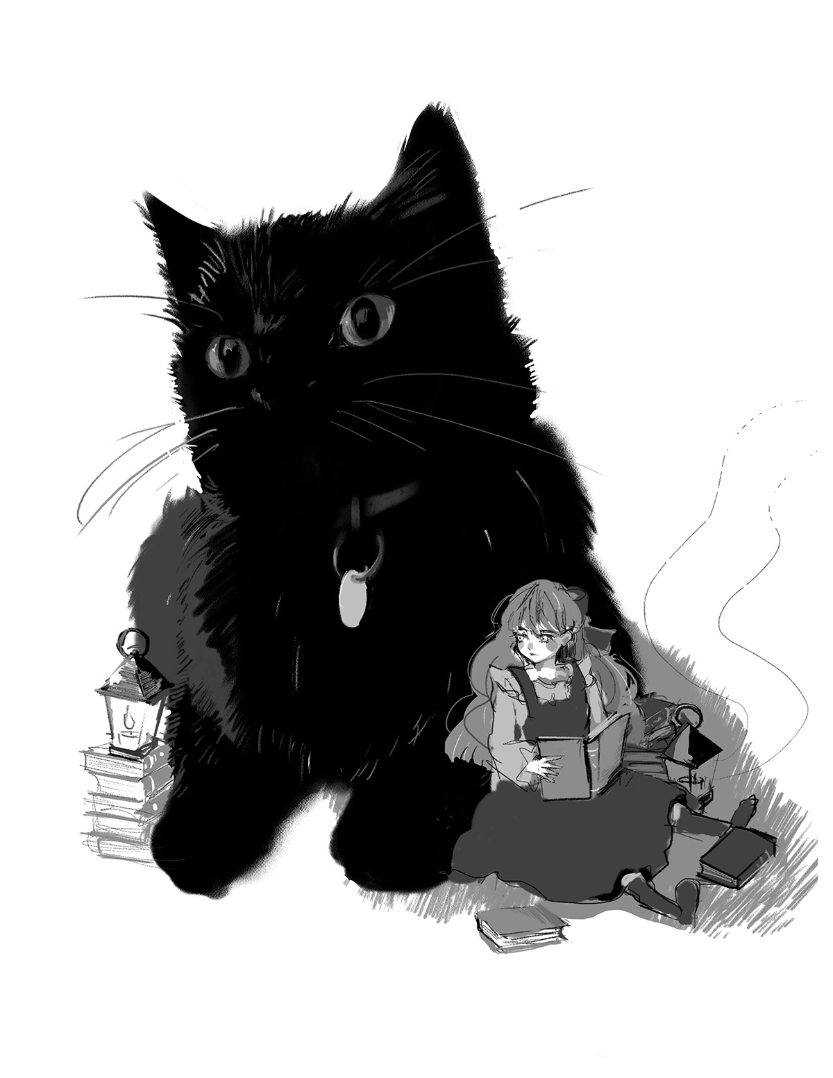 A black-and-white illustration of a cat and girl reading a book.