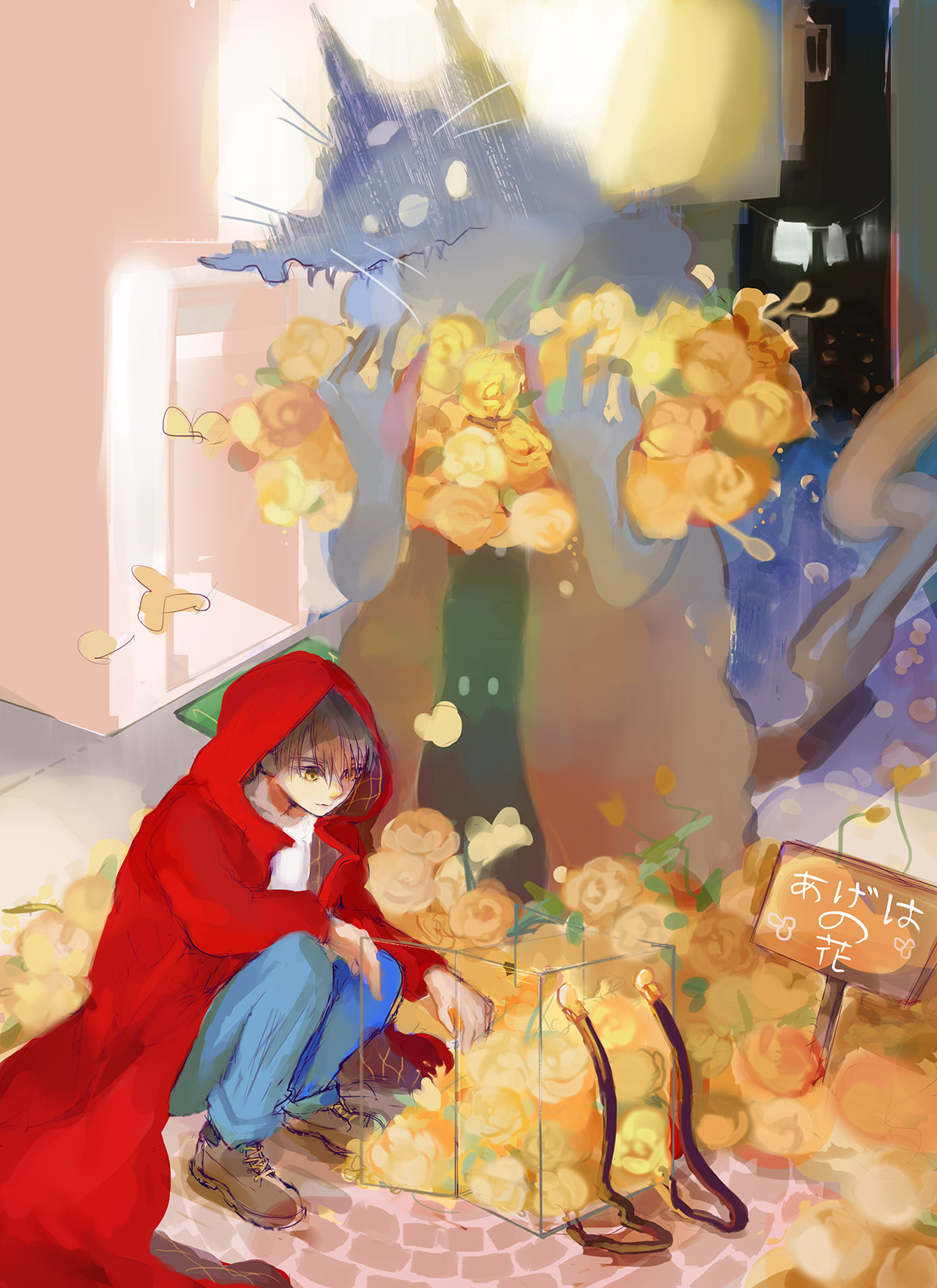 An illustration of a girl in a red hooded sweatshirt.