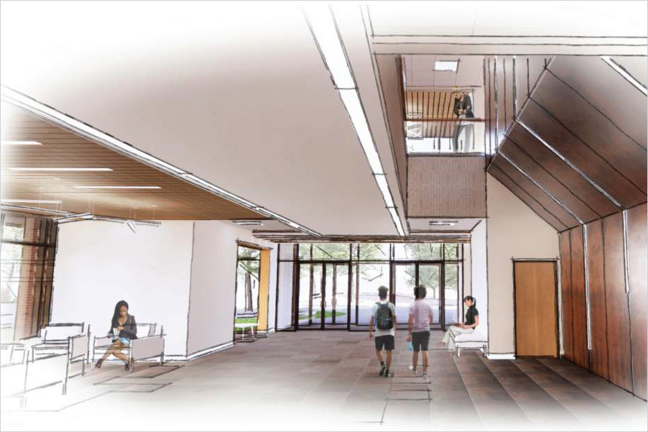 artist rendering of a open lobby space.