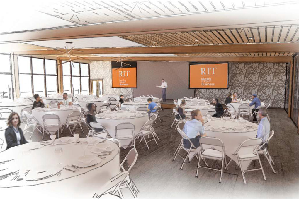 artist rendering of a conference room space with TV monitor and round banquet tables.