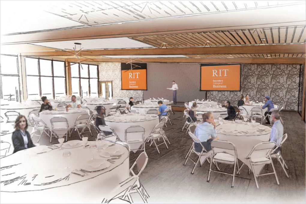 artist rendering of an event space with banquet tables and seating.