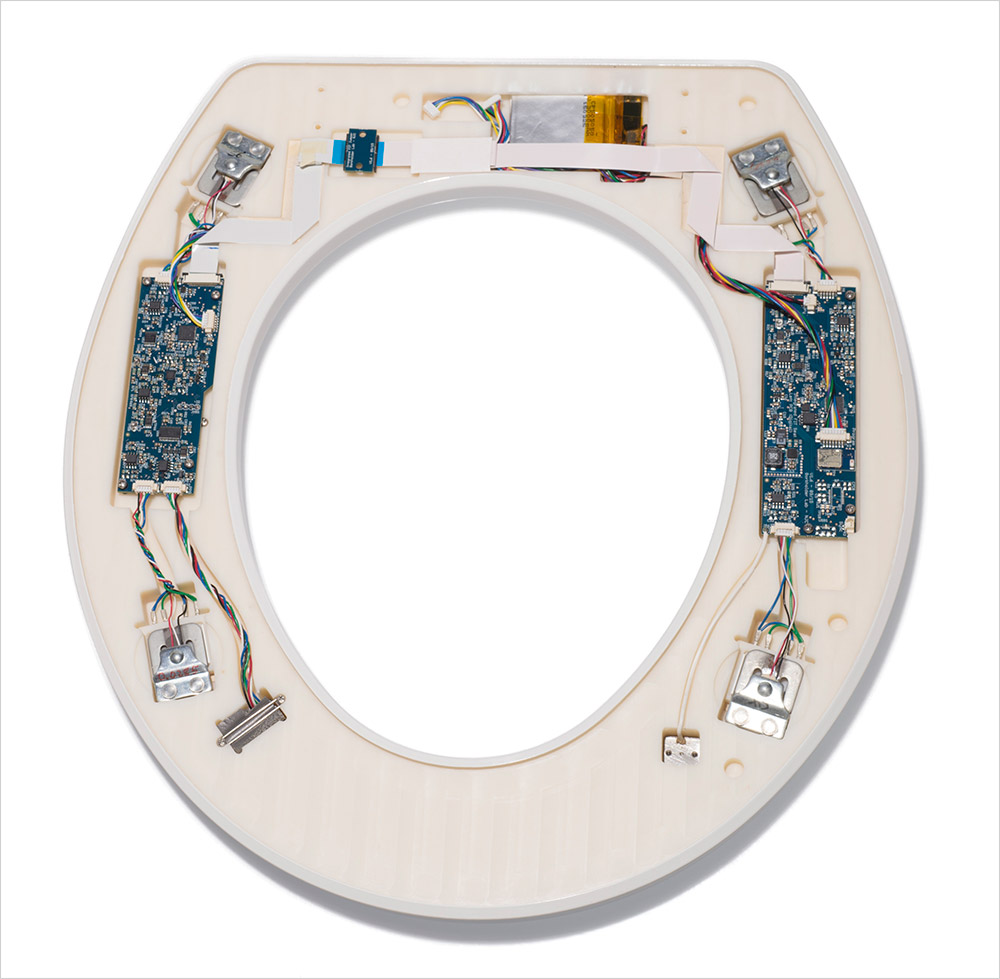 toilet seat fitted with sensors.