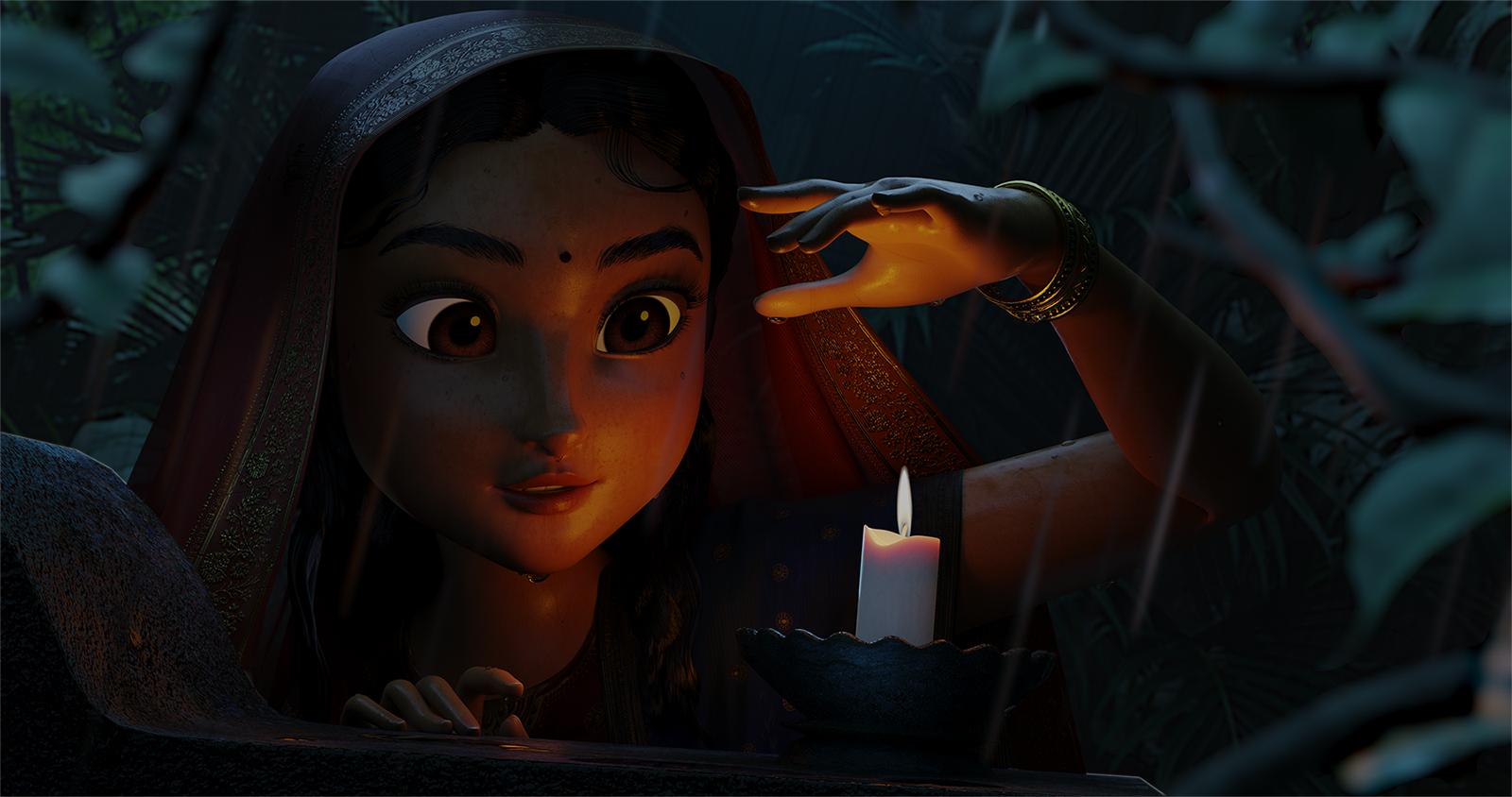 A rendering of an animated character looking at a lit candle.