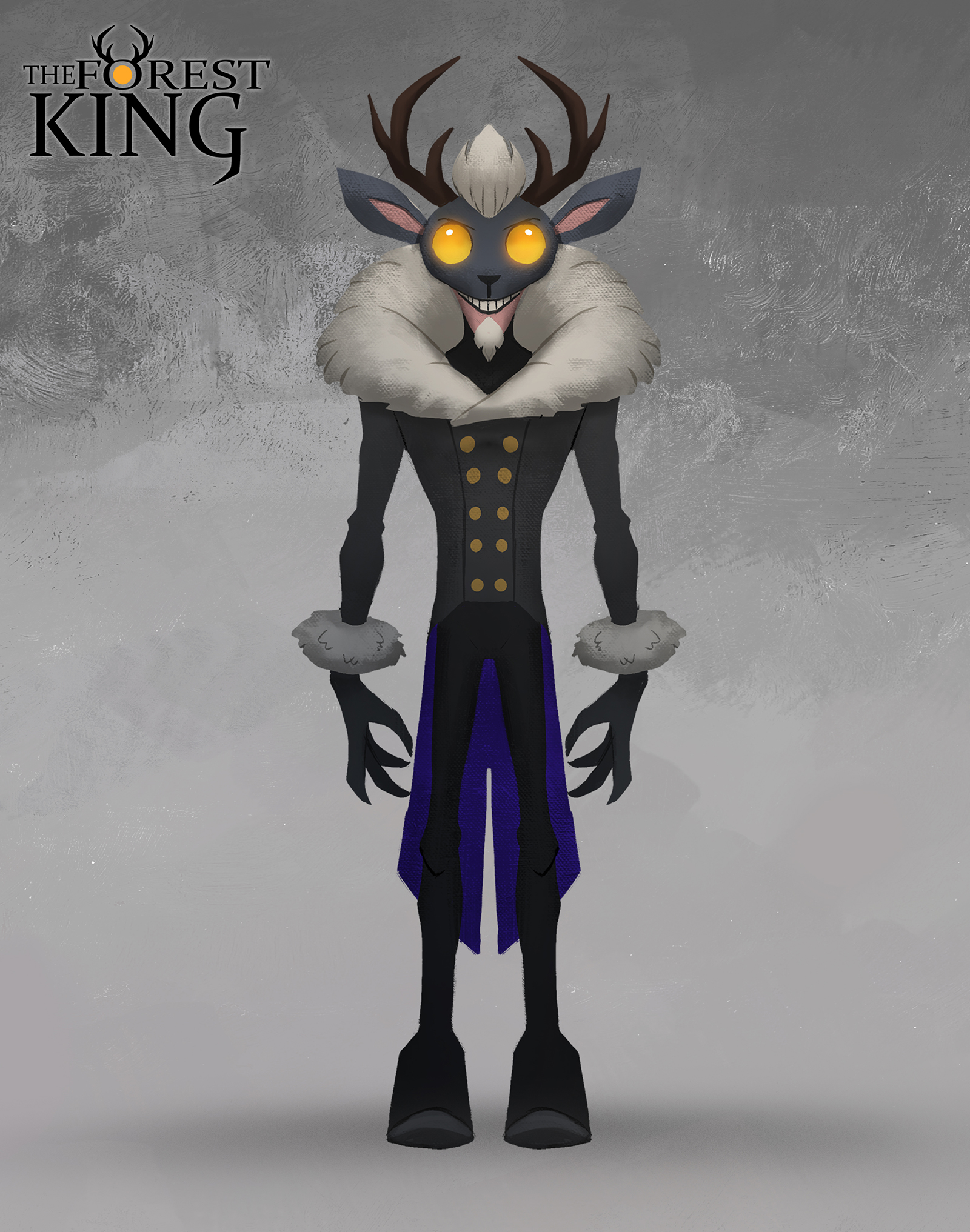 An illustration for The Forest King of a villain with antlers and a long coat.