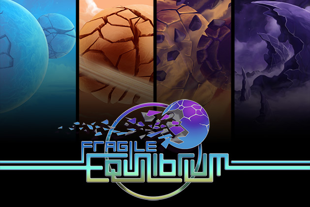 Four panes showing orbs of different colors with the text: Fragile Equilibrium