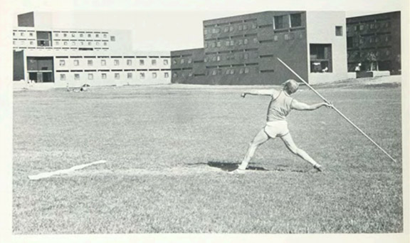athlete throwing a javelin in 1970.