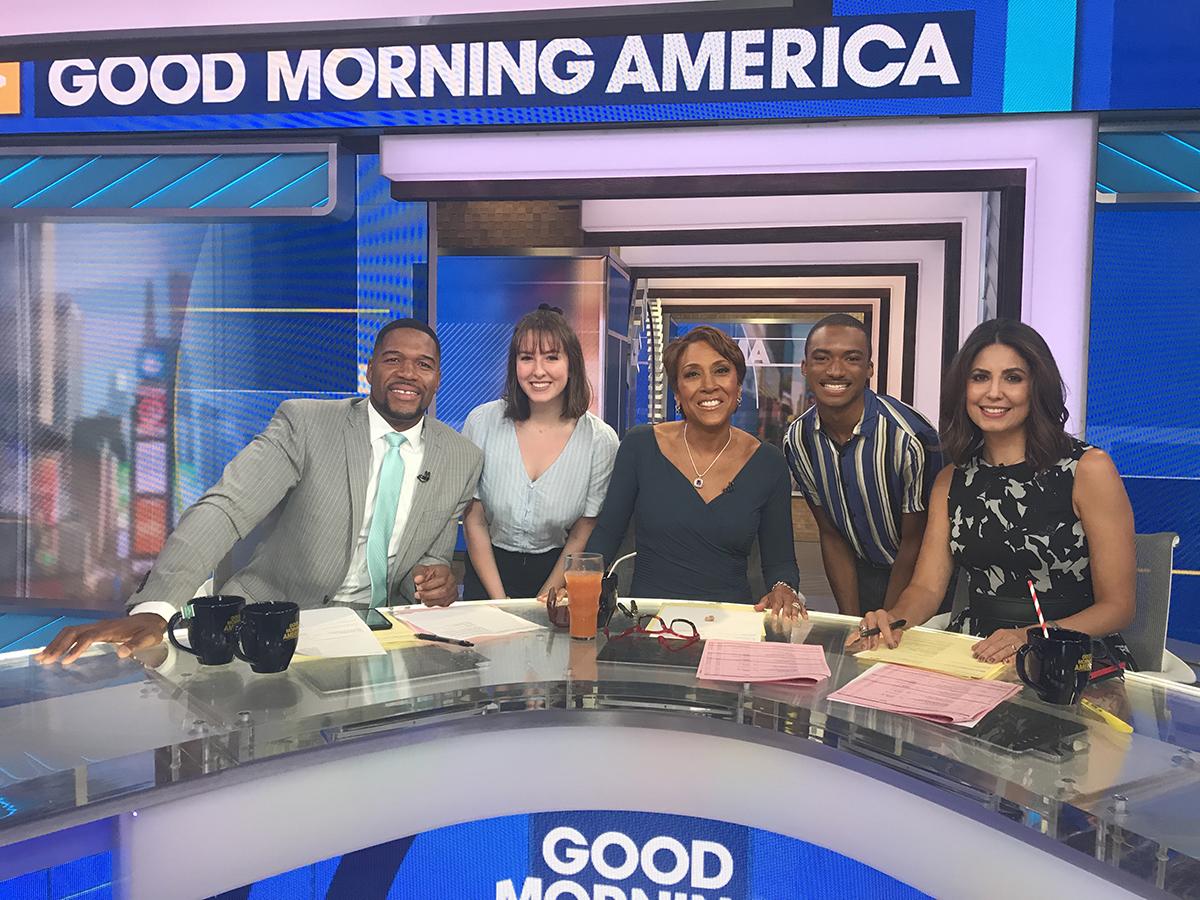 Trisha Pickelhaupt on the Good Morning American set.