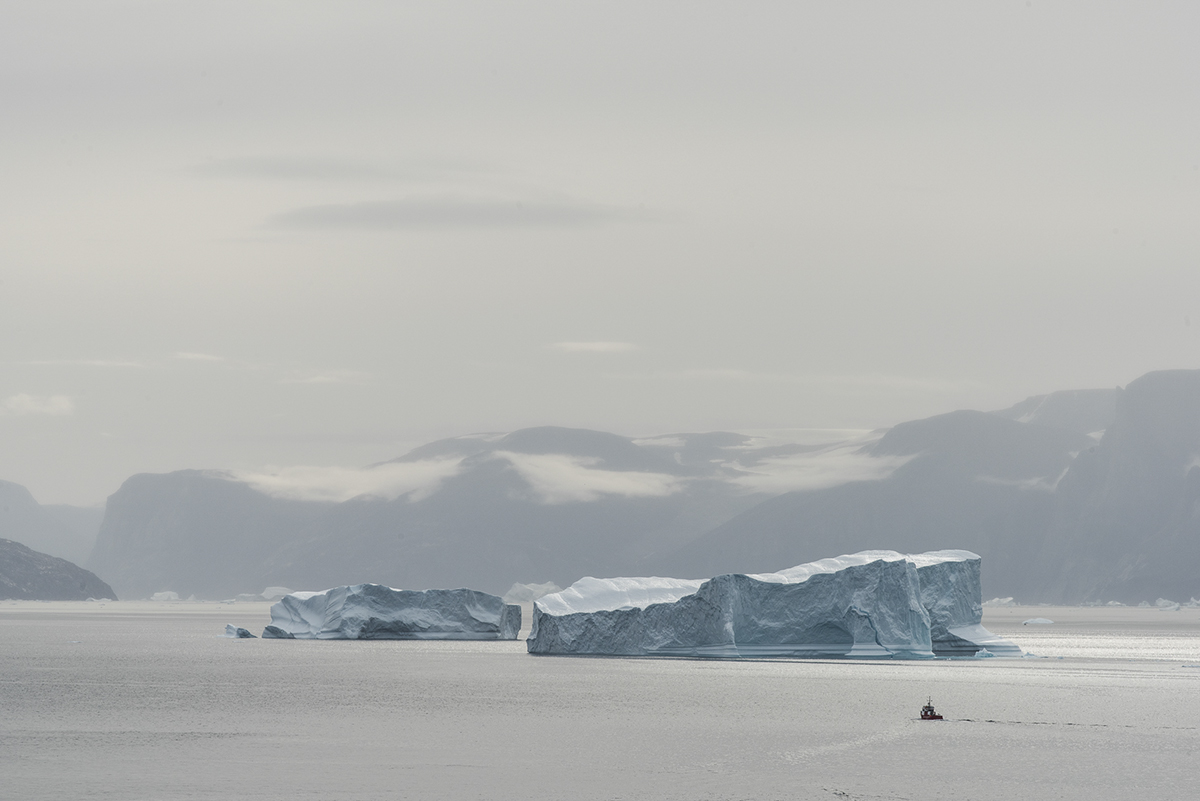 Broad view of the Uummannaq Fjord looking south toward the Store Glacier.  The photo was taken as part of Denis Defibaugh's NSF grant.