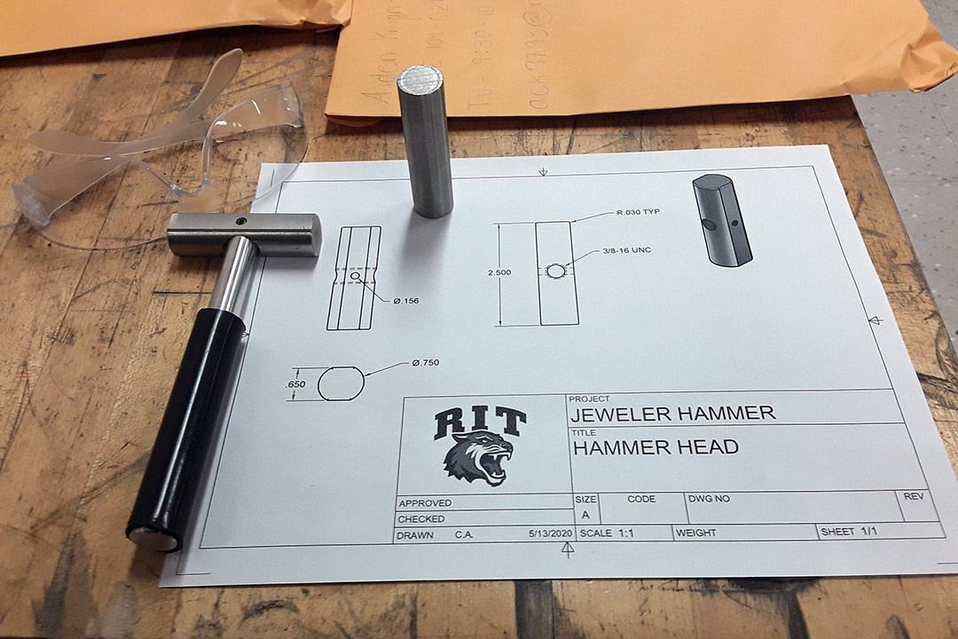 spec sheet for hammer head of jewelry hammer.