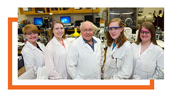 group shot of Dr. Hans with his four research students