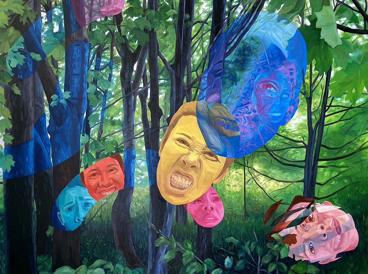 A series of colorful faces painted over a forest background.