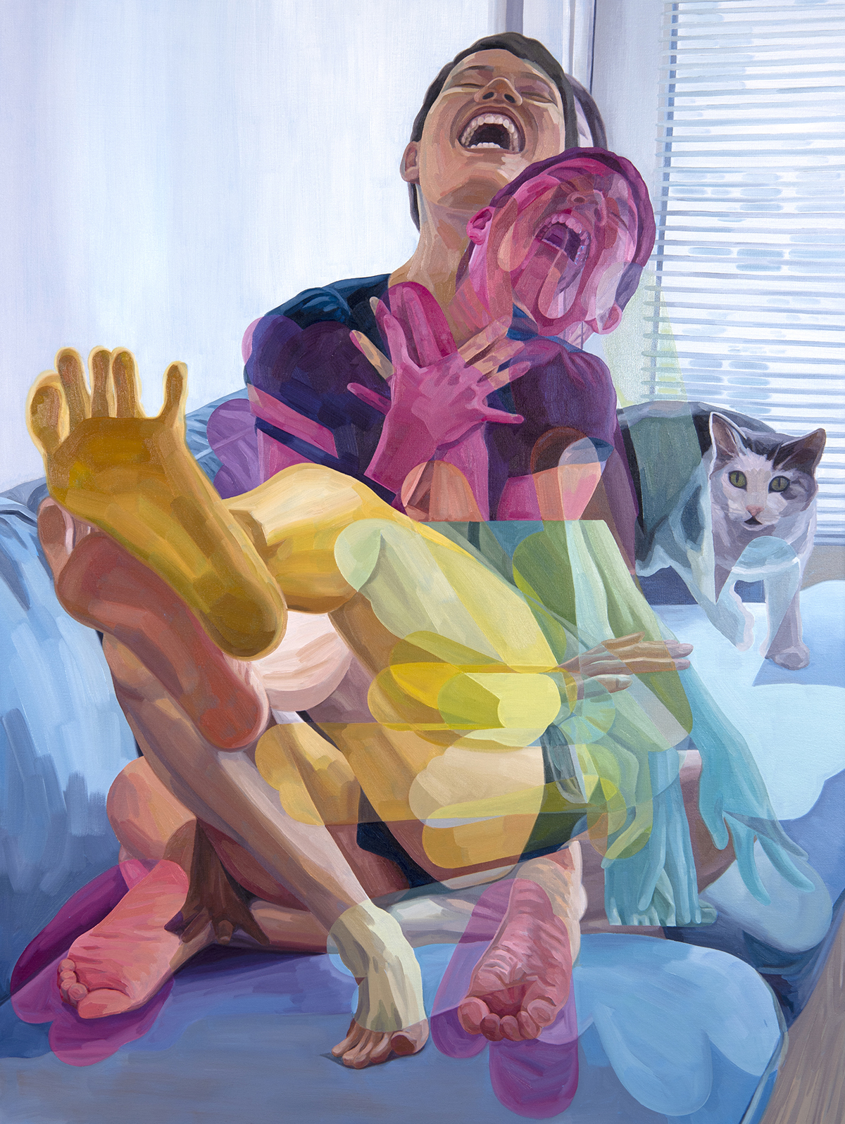 A self-portrait painting by Melissa Huang, accompanied by her cat.