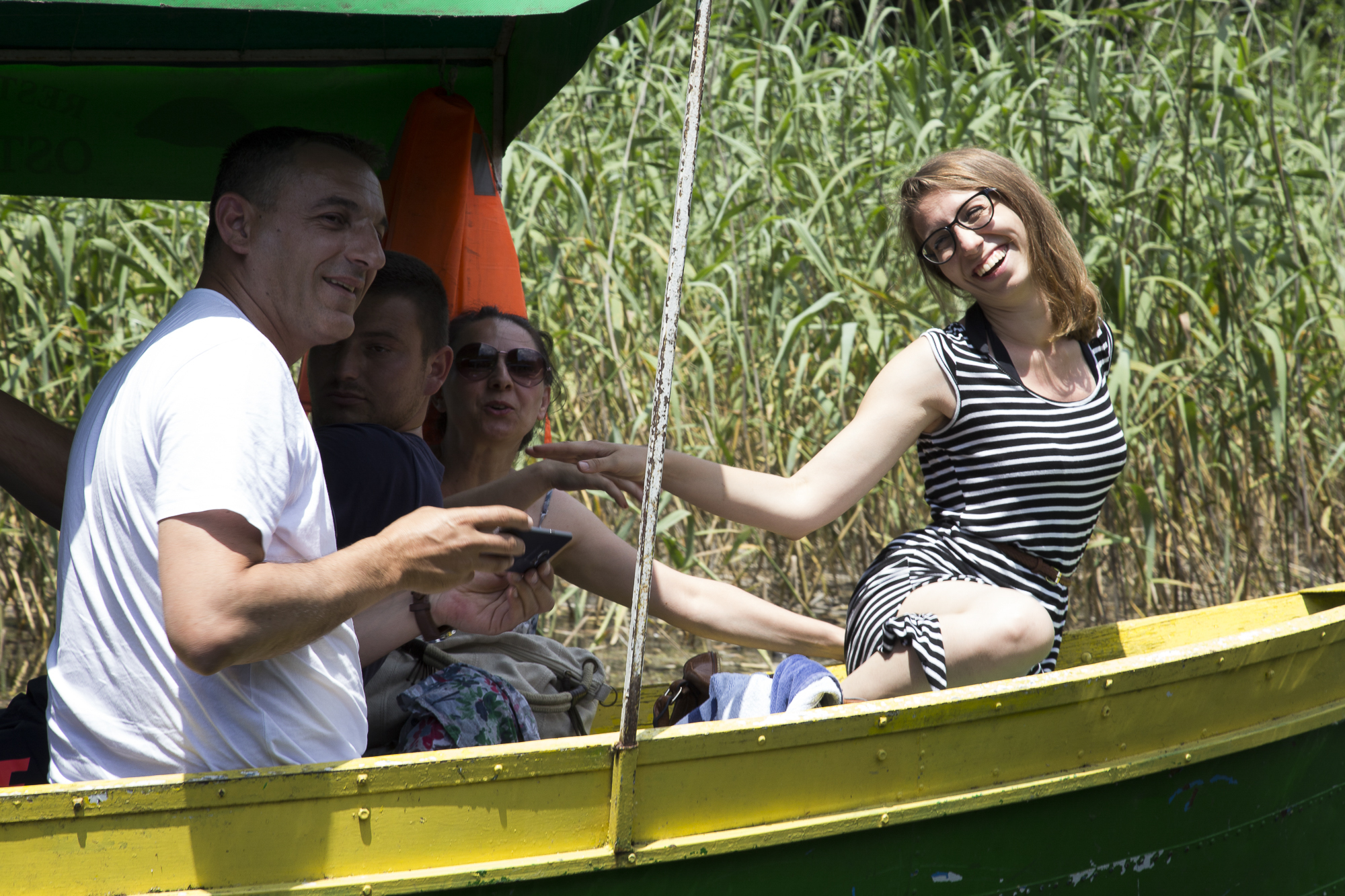 Students on a boat