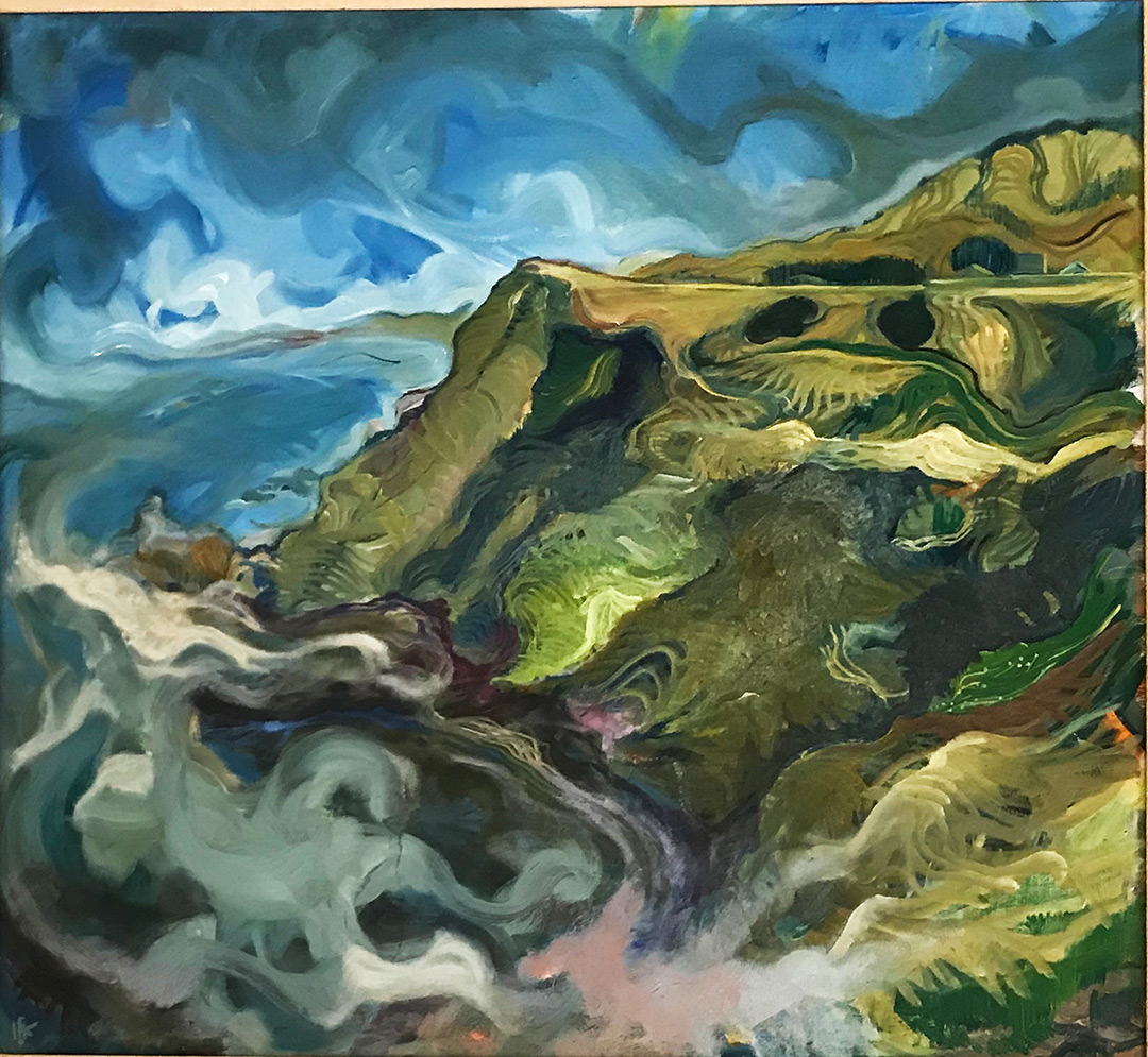 Painting of abstract mountain landscape