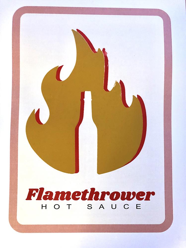 A logo design with flames.