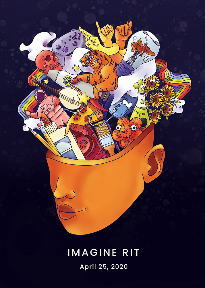 poster with colorful images sprouting from the mind.