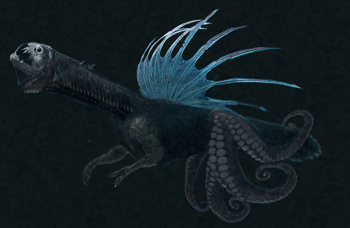 A black and blue dragon-octopus hybrid.
