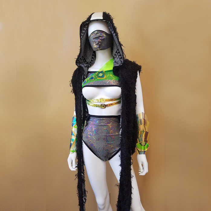 A mannequin sports a revealing outfit, part of an avant-garde fashion design line.