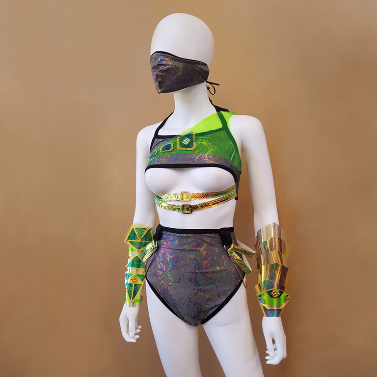 A mannequin sports revealing, avant-garde fashion designed by Jaclyn O'dell.