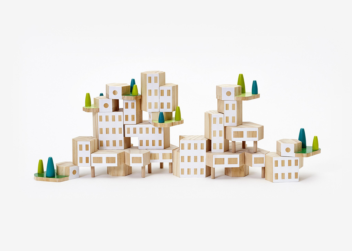 A set of building blocks assembled to create a set of buildings