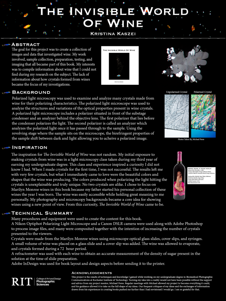 A poster of images and data investigating wine.