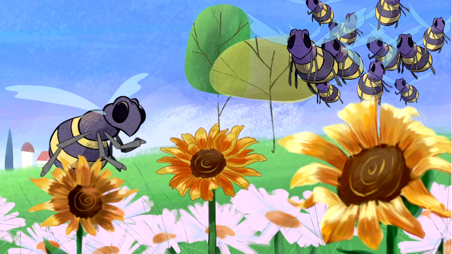 A group of bees gather on a flower