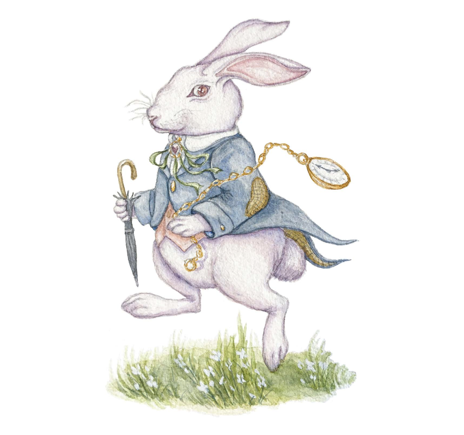 A bunny holding an umbrella and a pocket watch.