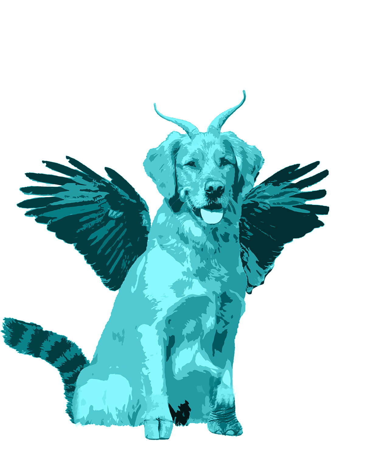 A blue dog with horns, wings and hooves.