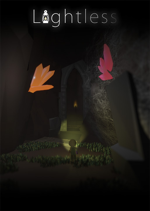 Dark entrance to castle with small character standing in front of it holding a flashlight