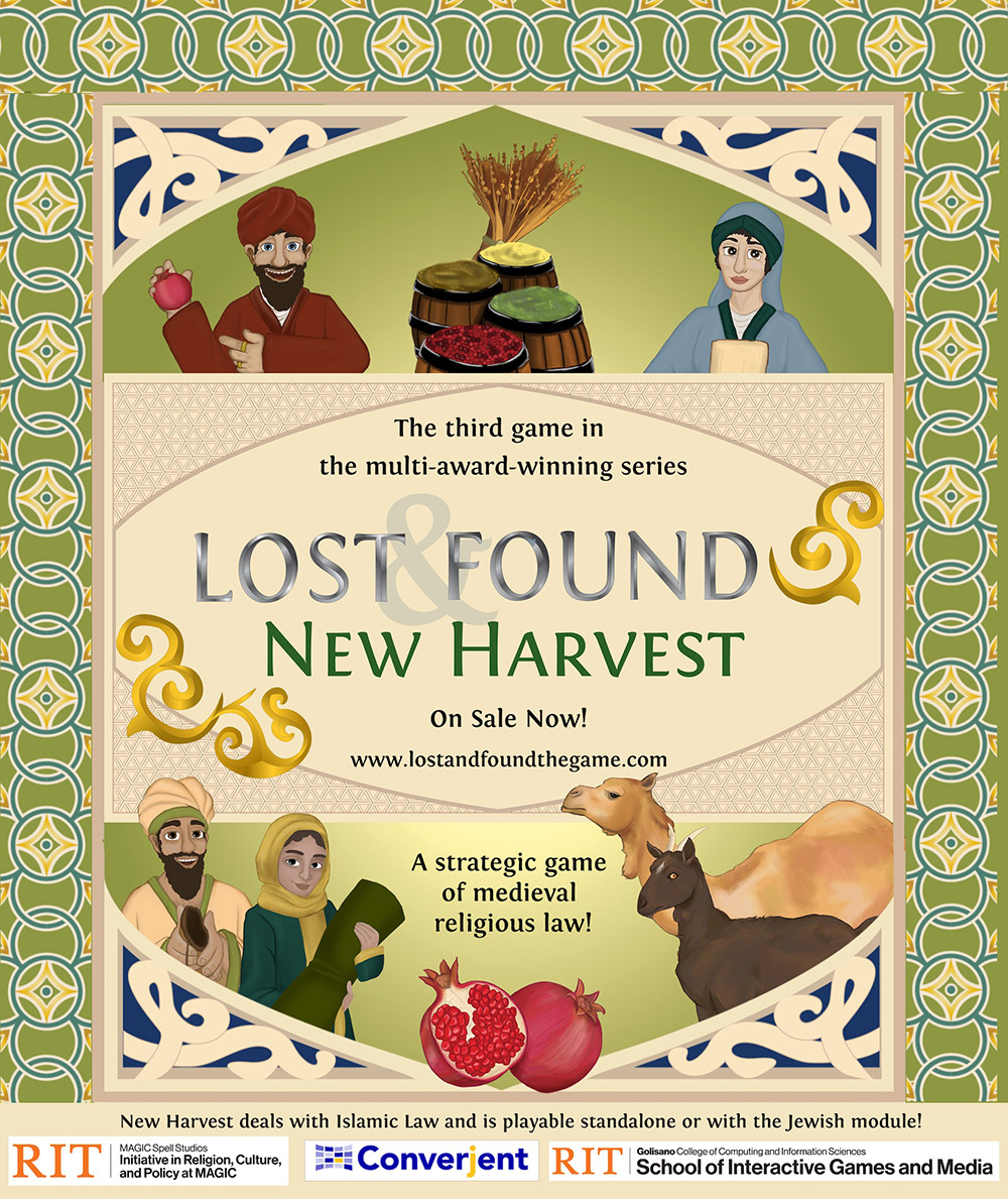 poster for Lost & Found: New Harvest, a strategic game of medieval religious law.