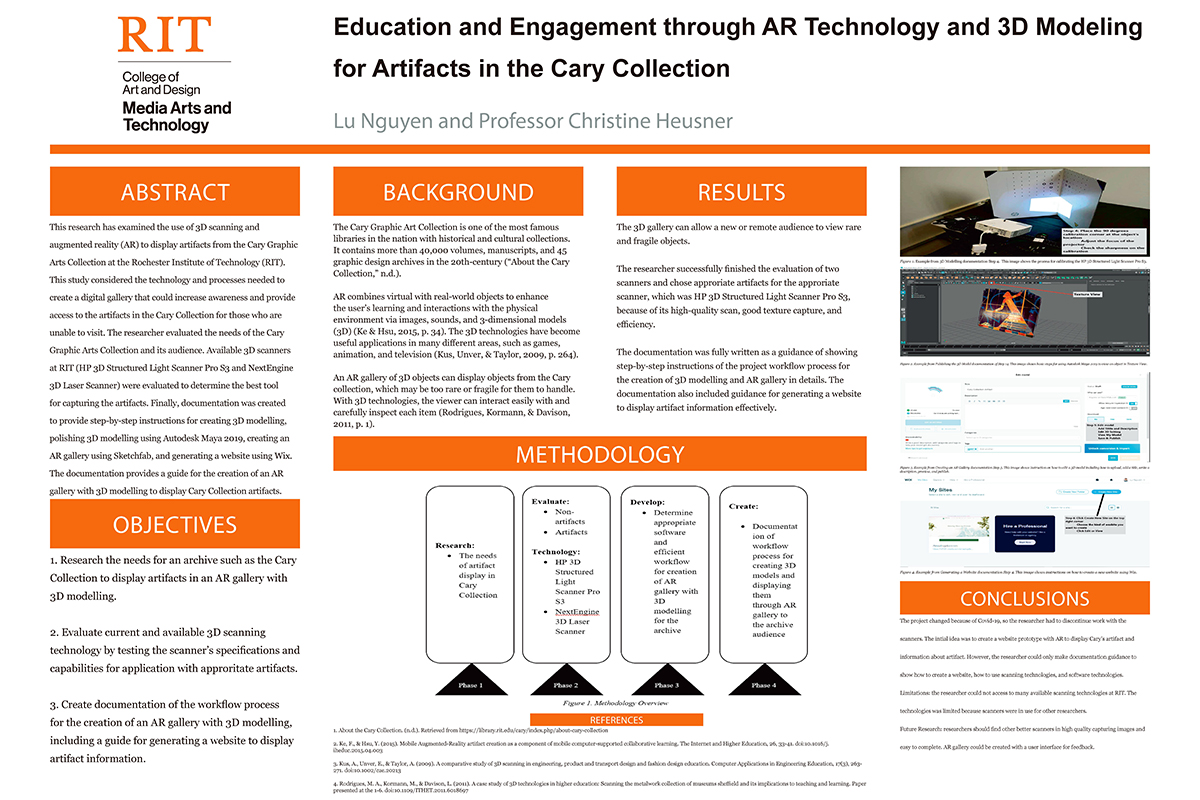 A poster for a project incorporating AR technology for the Cary Collection at RIT.