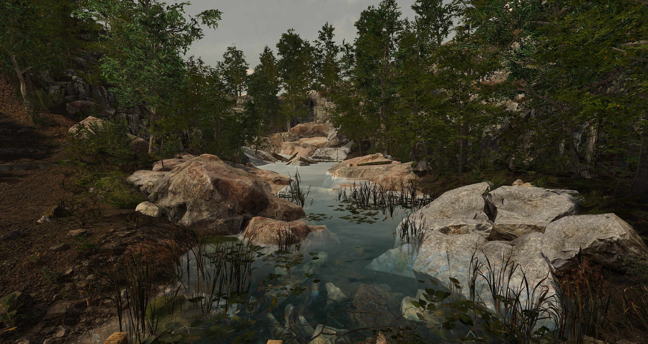An animated scene with trees and rocks surrounding a creek.