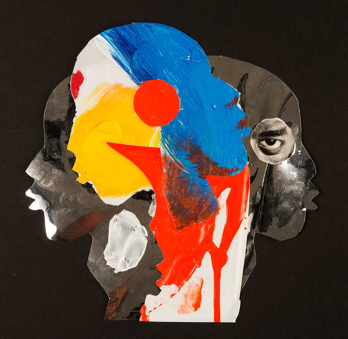 A painting collage of three faces.