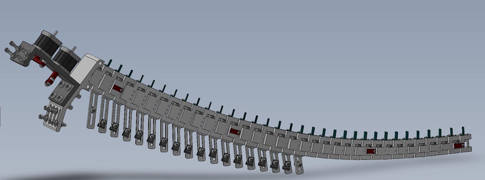 computer model of mechanical dinosaur tail.