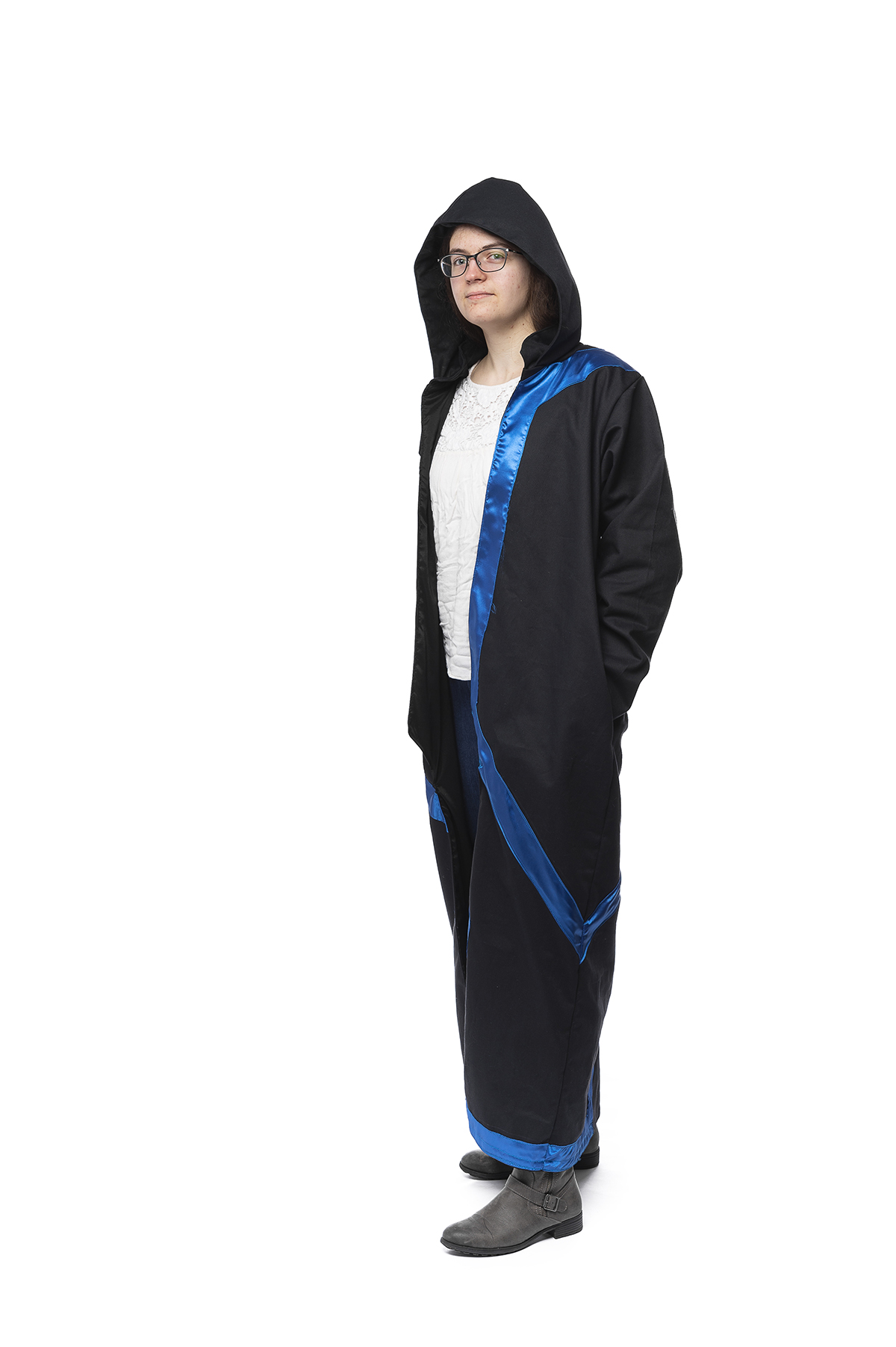 A blue and black design of a robe.