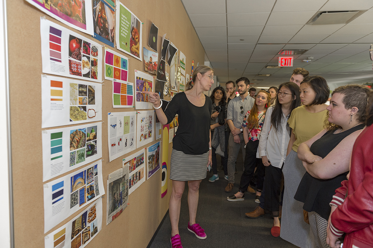 Theresa Fitzgerald takes industrial design students for an impromptu tour around Sesame Workshop's offices and creative spaces.