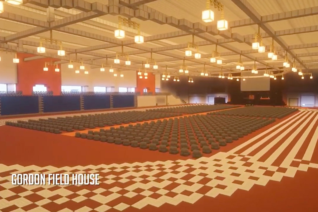 field house built in Minecraft video game.