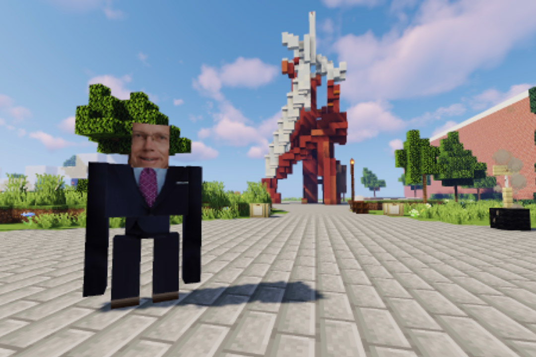 recreation of RIT President Munson and the Sentinel statue in Minecraft.