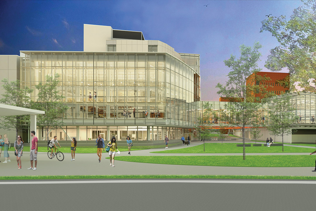 artist's rendering of exterior of glass building.