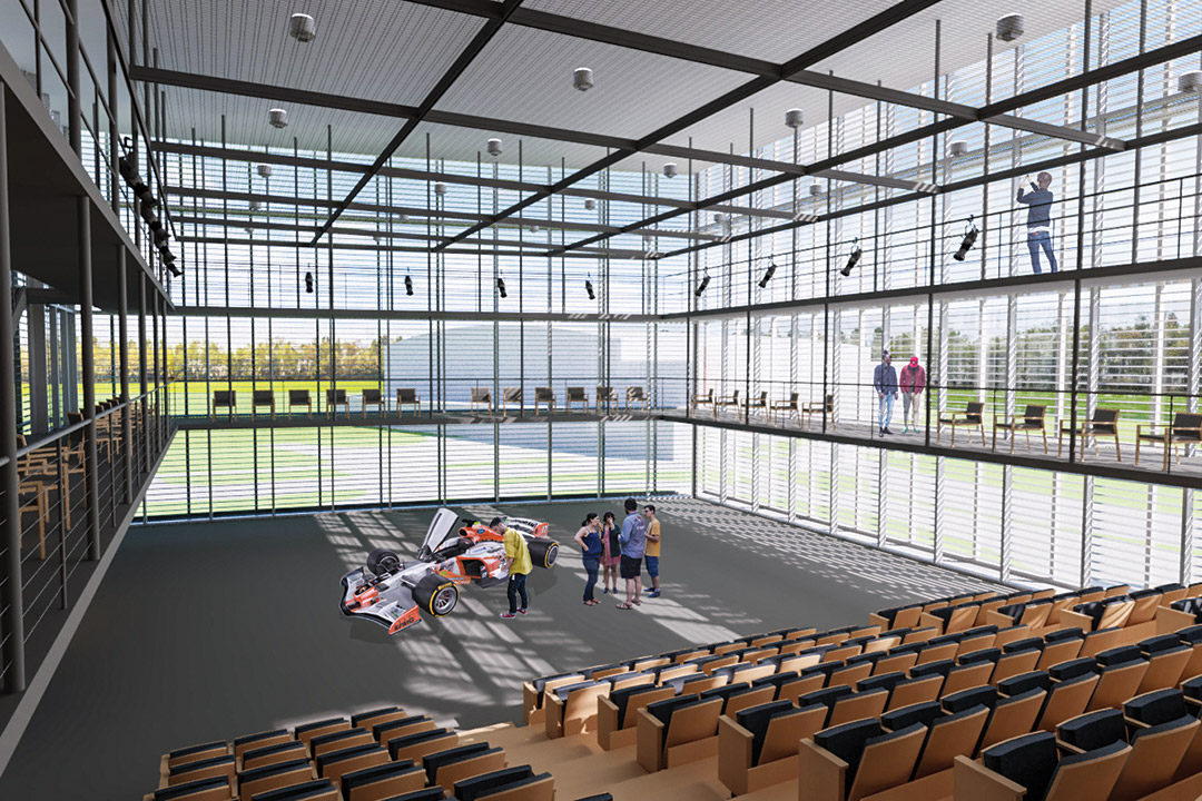 artist's rendering of interior of a black box/glass box theater.