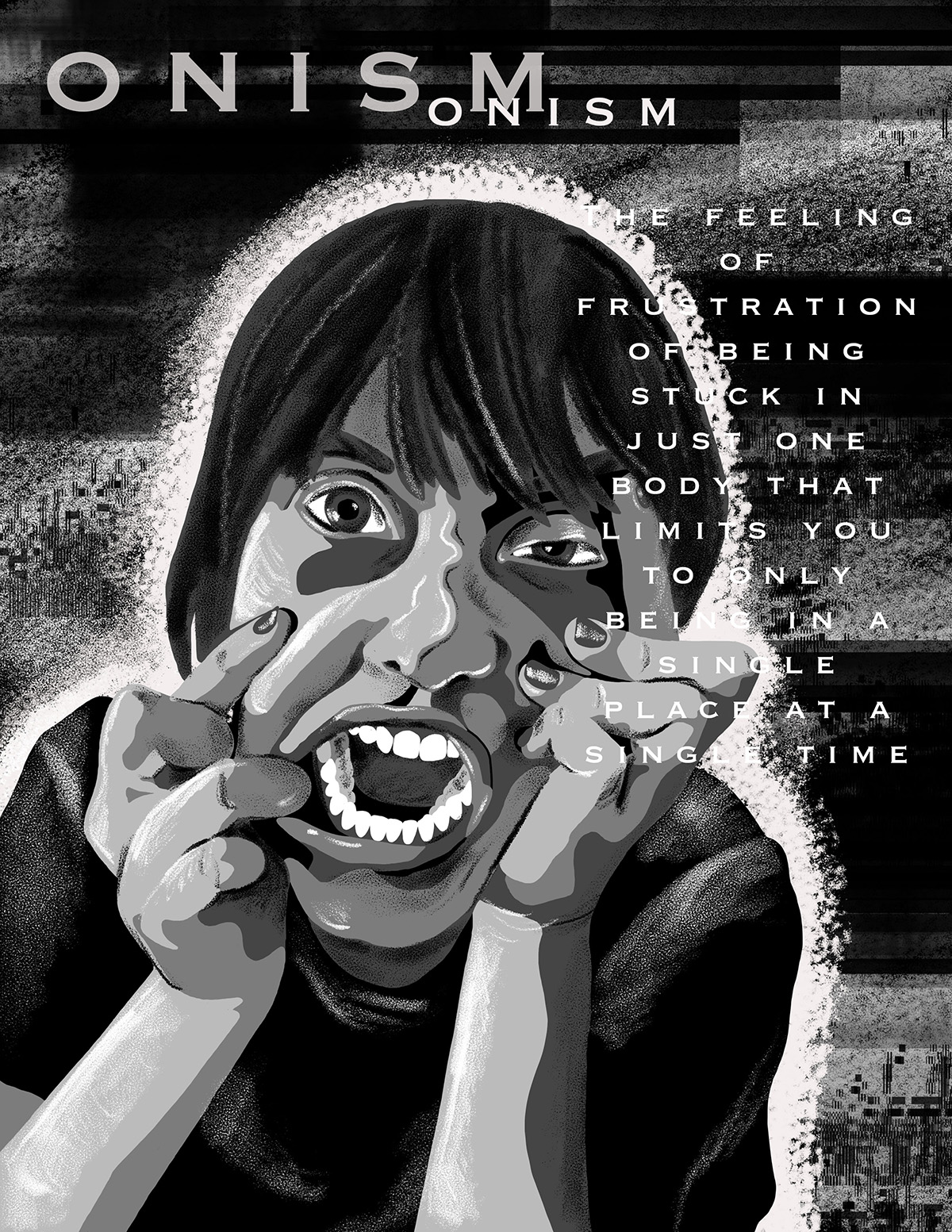 A black and white illustration of a person yelling and touching their face.