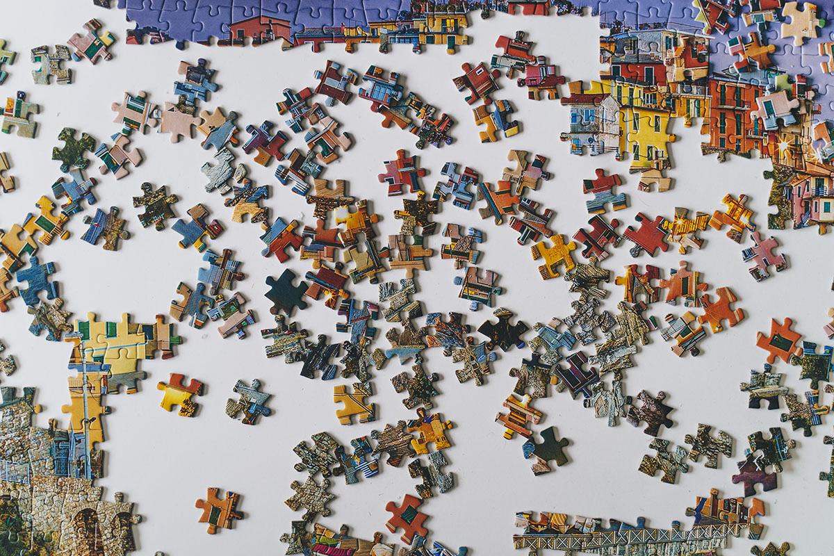 An overhead shot of an in-progress puzzle.