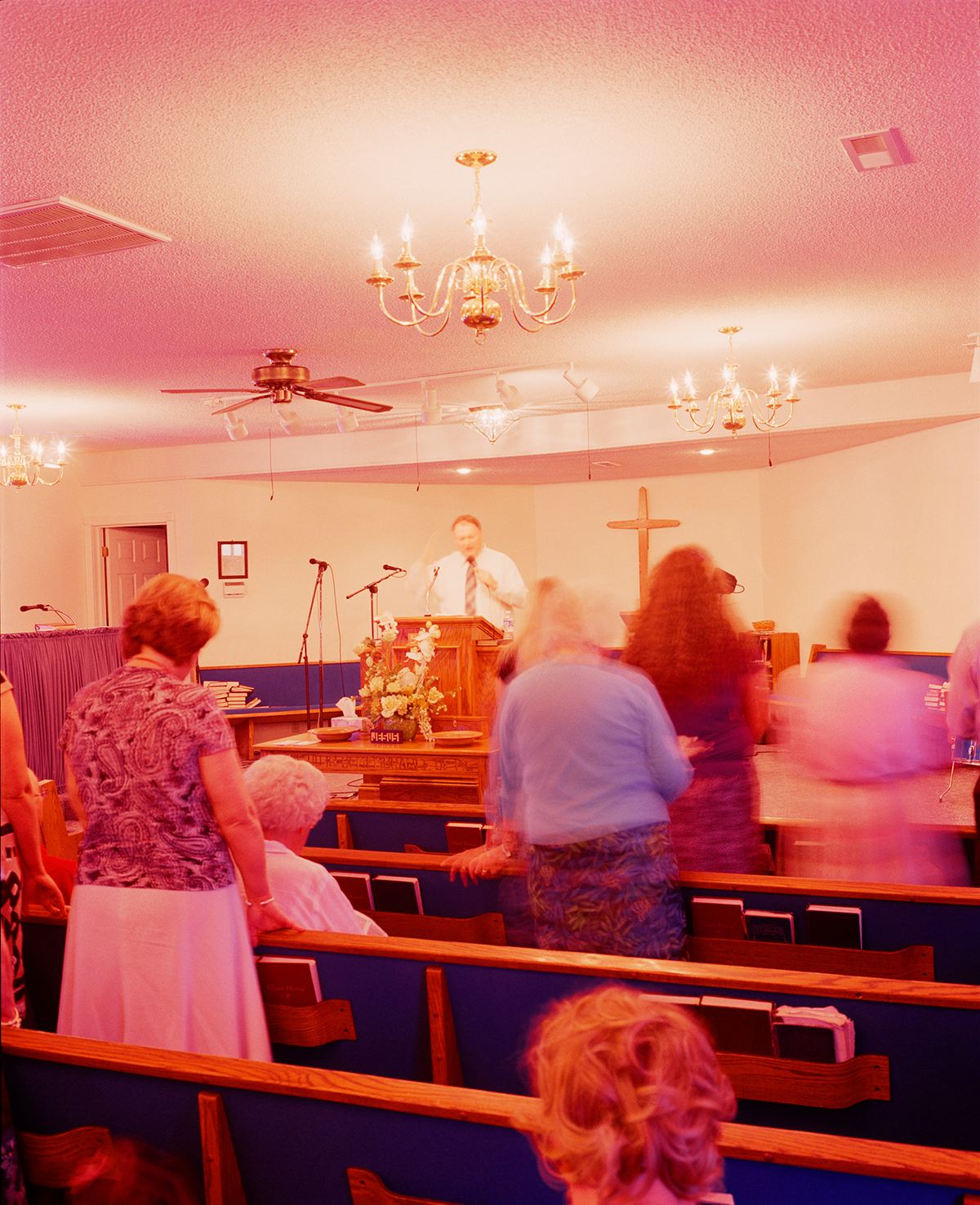 People attend a church service.