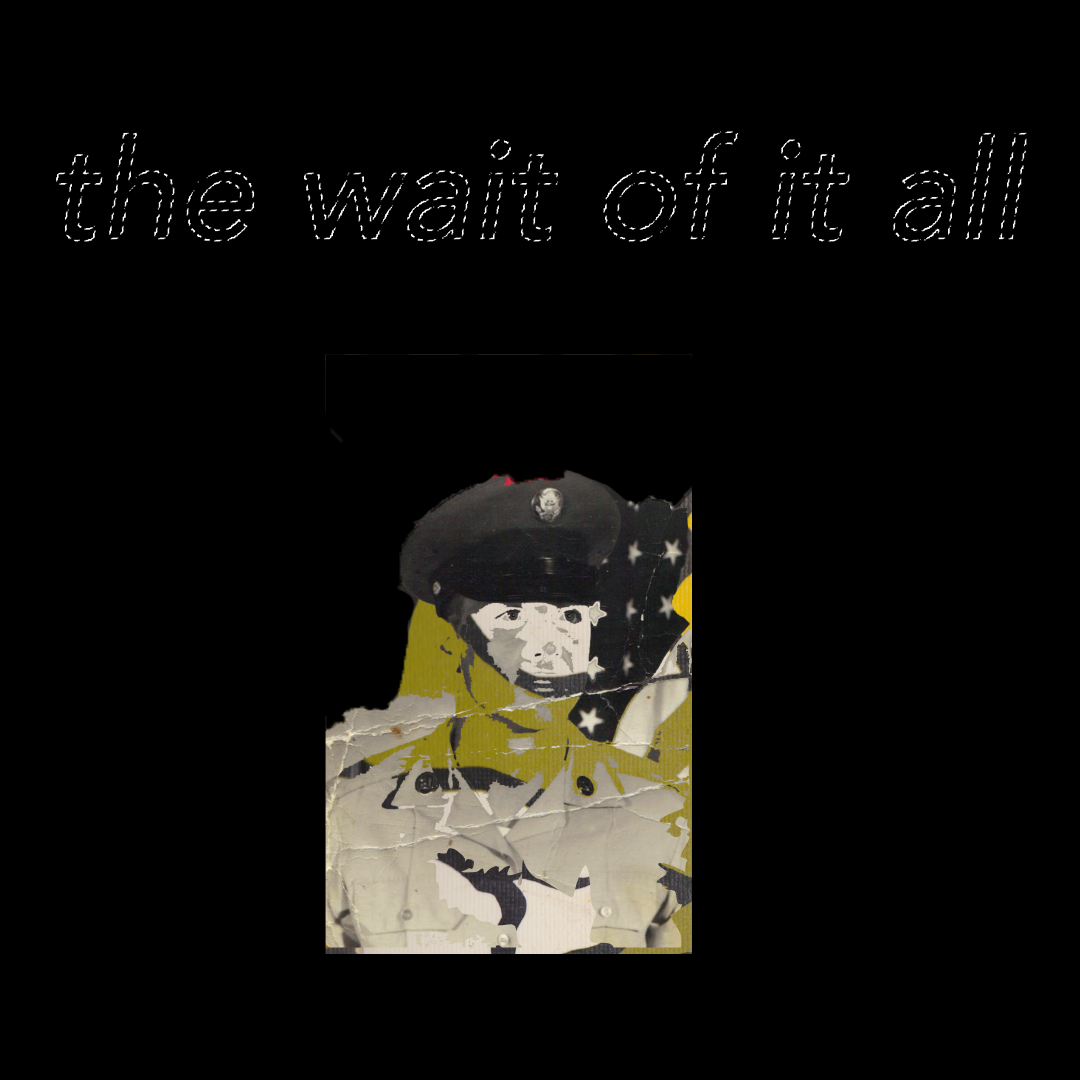 "A photo with the words ""the wait of it all"" in stitching. It's part of the 2020 senior fine art photography gallery show."