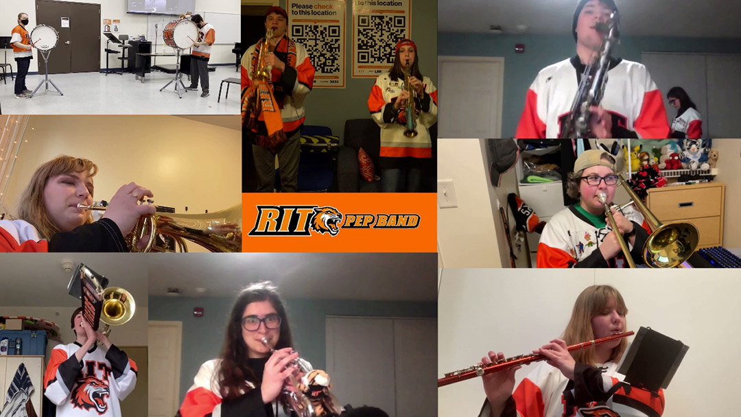 collage of photos of students performing in a pep band.