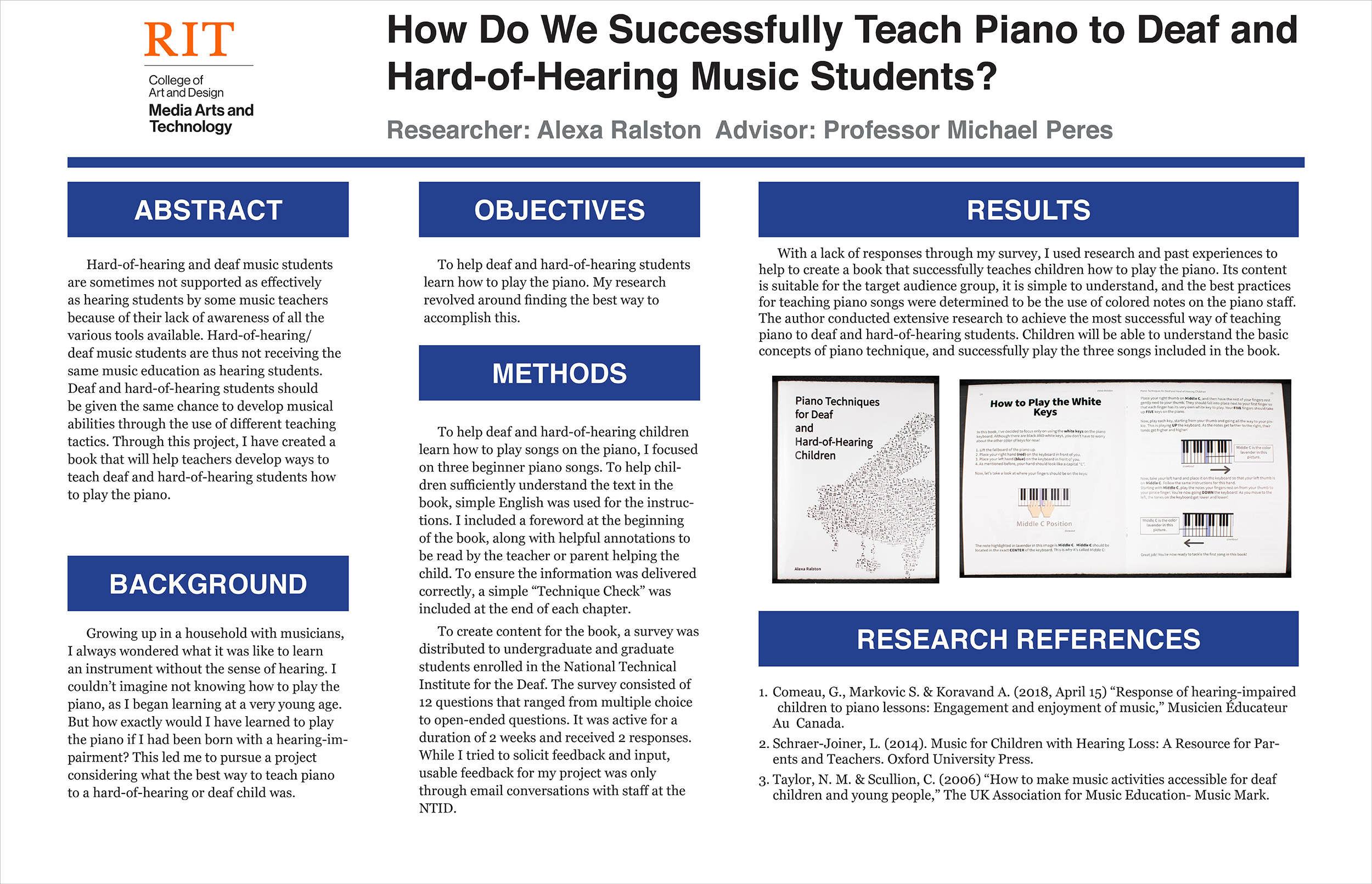 A poster exploring how to successfully teach piano to deaf and hard-of-hearing music students.
