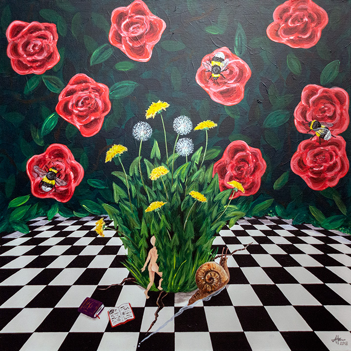 painting of dandelions growing out of black-and-white-checkered floor with rose blossoms in background