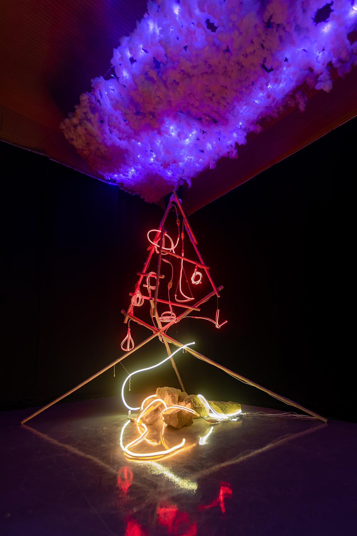 An LED-lit sculpture installation.