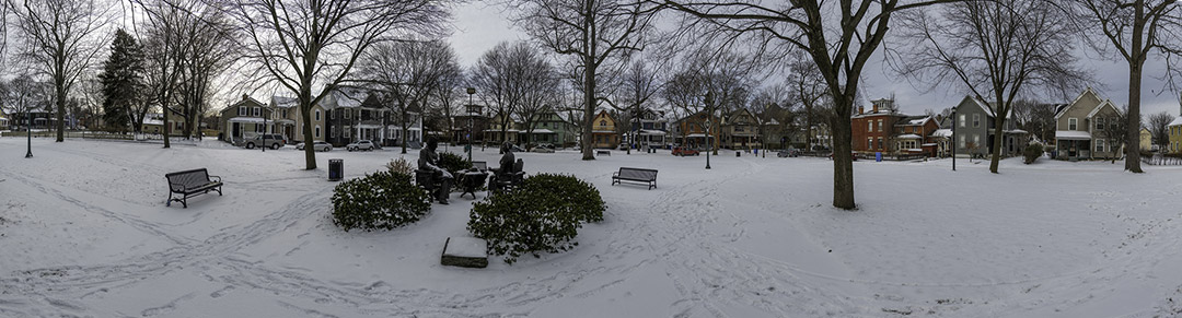 panoramic view of Susan B. Anthony house in Rochester.